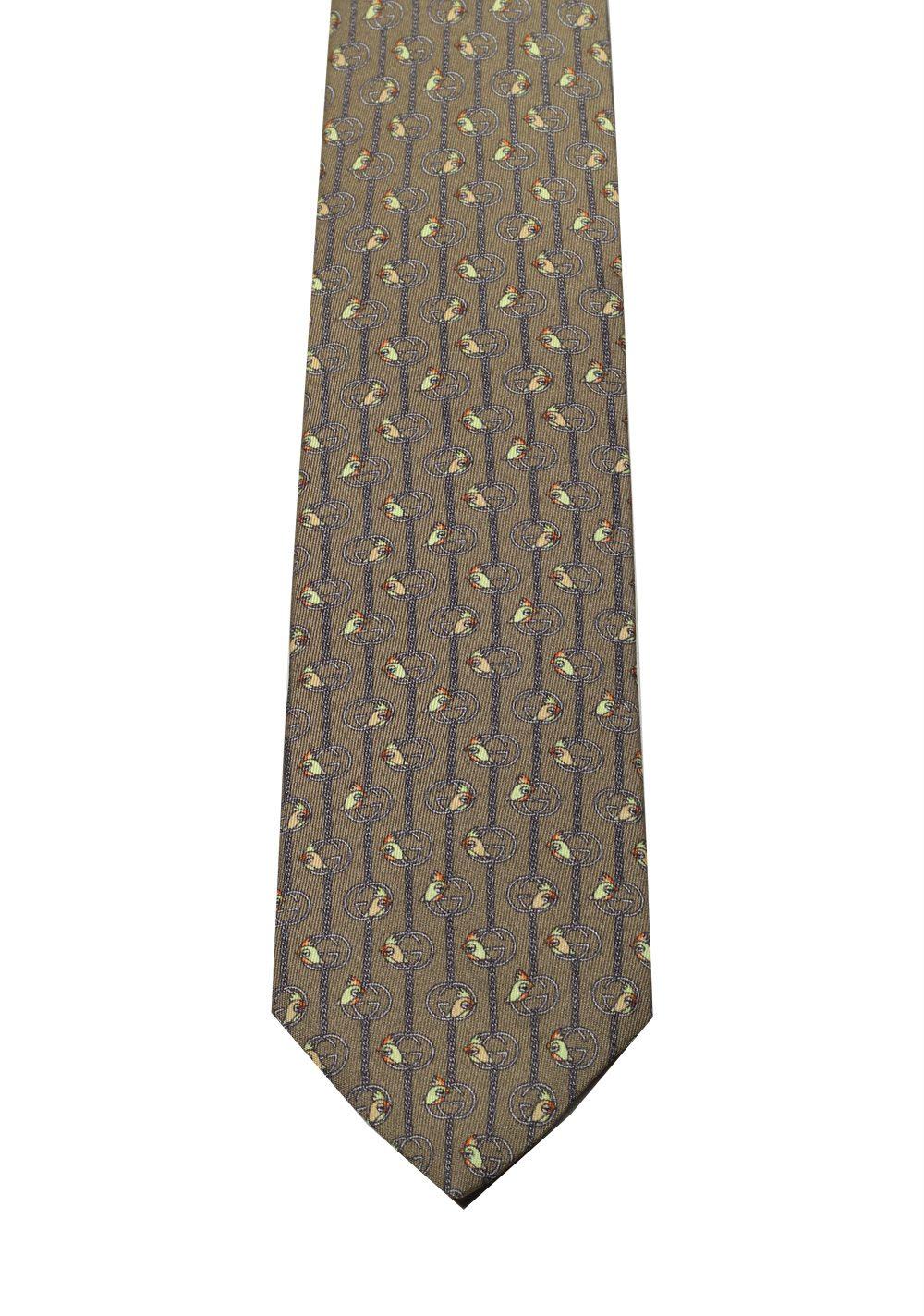 Gucci Brown Patterned Bird Tie | Costume Limité