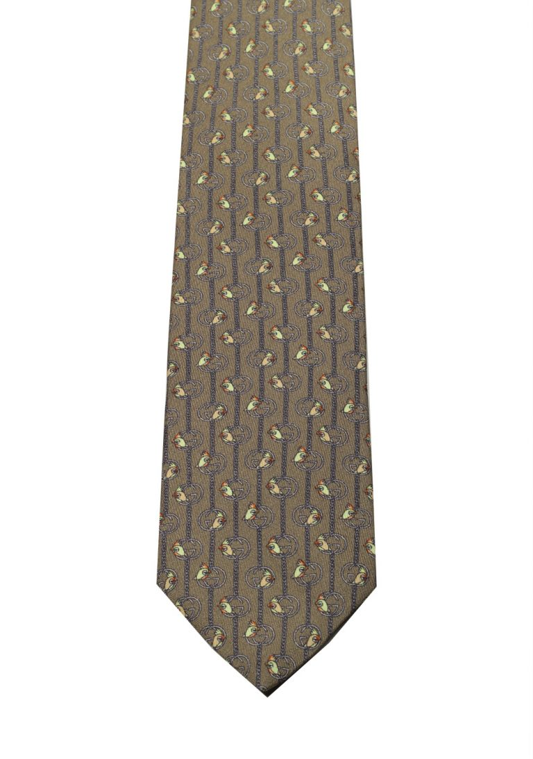 Gucci Brown Patterned Bird Tie - thumbnail | Costume Limité