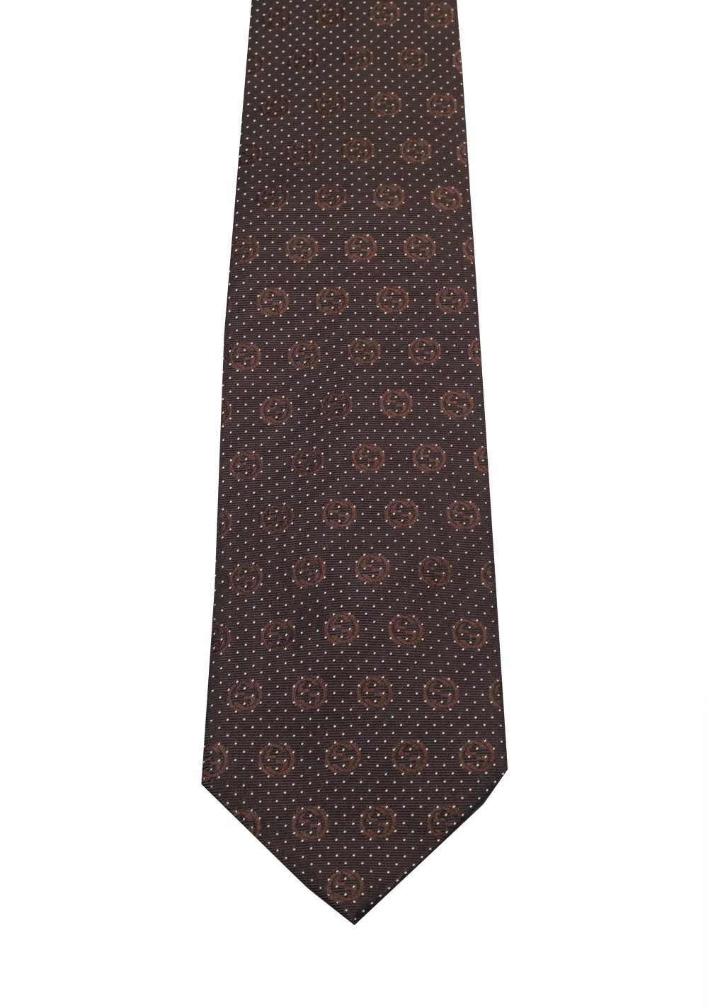Gucci Brown Patterned Logo Tie | Costume Limité