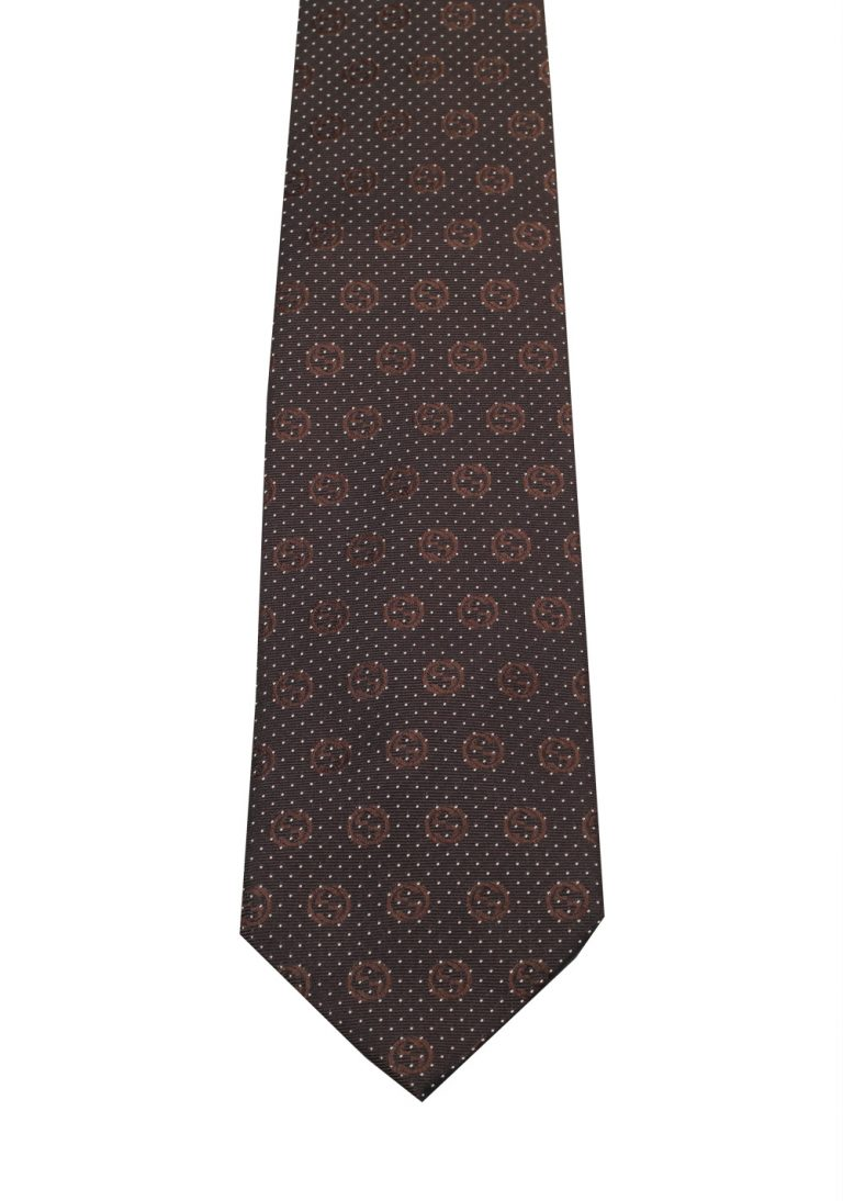 Gucci Brown Patterned Logo Tie - thumbnail | Costume Limité