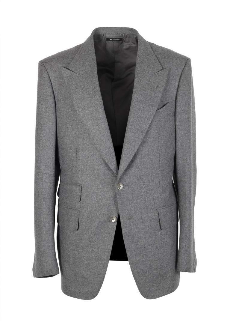 TOM FORD Shelton Gray Flannel Suit Size 50 / 40R U.S. In Wool - thumbnail | Costume Limité