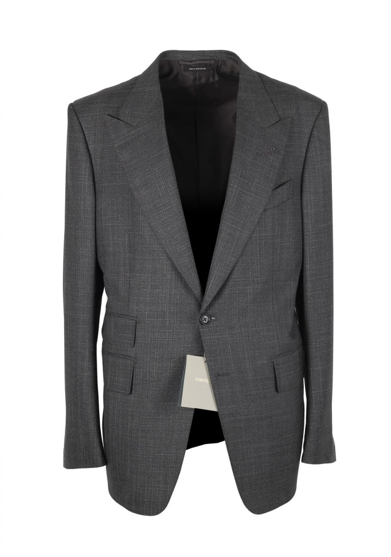 TOM FORD Shelton Checked Gray Suit Size 54 / 44R U.S. In Wool Silk - thumbnail | Costume Limité