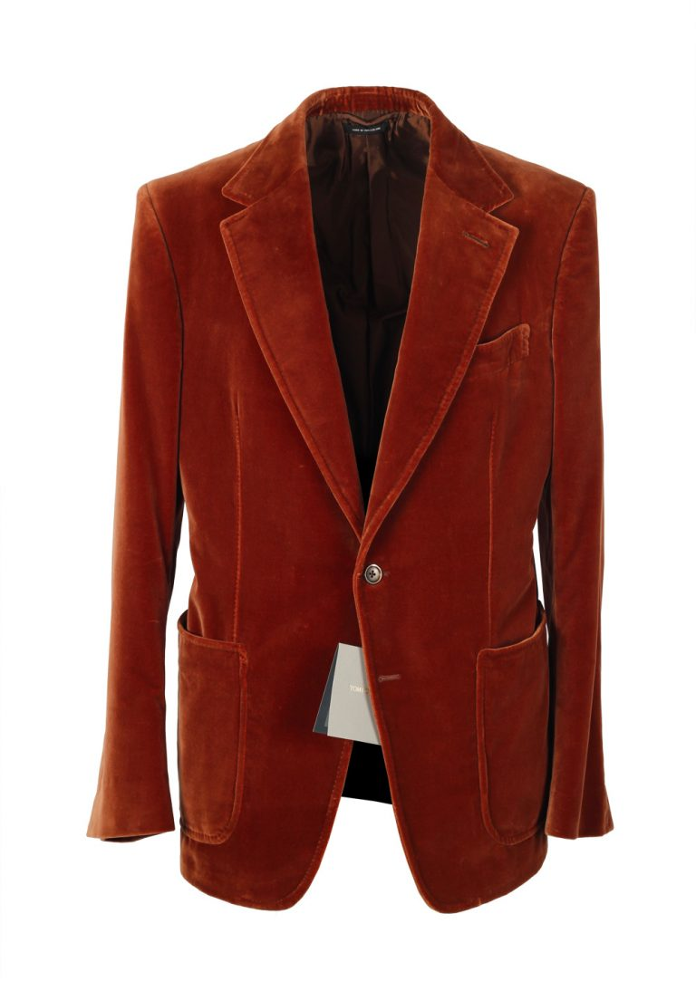 TOM FORD Shelton Velvet Brown Sport Coat Size 50 / 40R U.S. Cotton - thumbnail | Costume Limité
