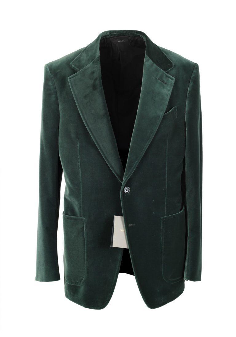 TOM FORD Shelton Velvet Green Sport Coat Size 50 / 40R U.S. Cotton - thumbnail | Costume Limité