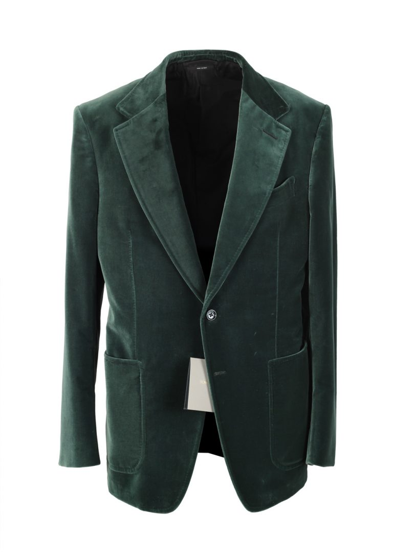 TOM FORD Shelton Velvet Green Sport Coat Size 54 / 44R Cotton - thumbnail | Costume Limité