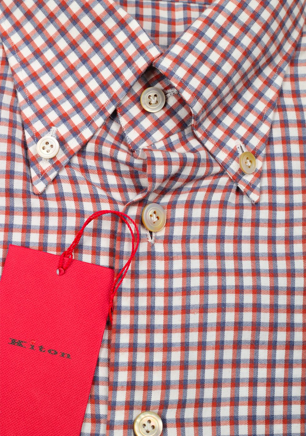 Kiton Checked White Red Gray Shirt Size 39 / 15,5 U.S. | Costume Limité