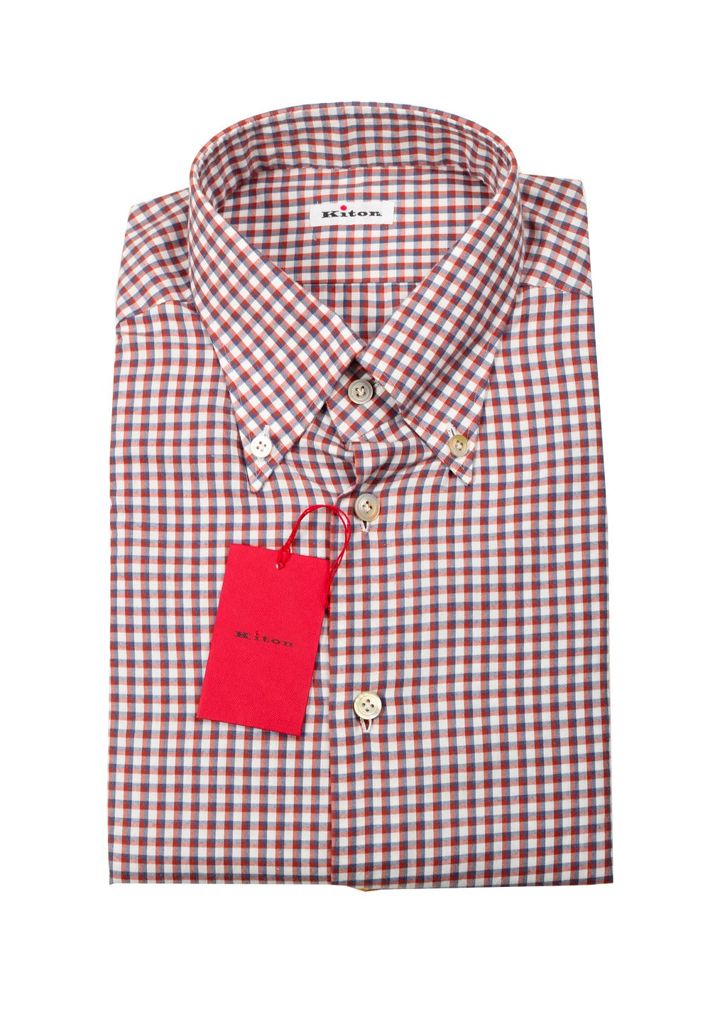 Kiton Checked White Red Gray Shirt Size 40 / 15,75 U.S. | Costume Limité