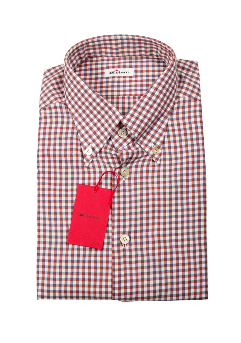 Kiton Checked White Red Gray Shirt Size 40 / 15,75 U.S. - thumbnail | Costume Limité