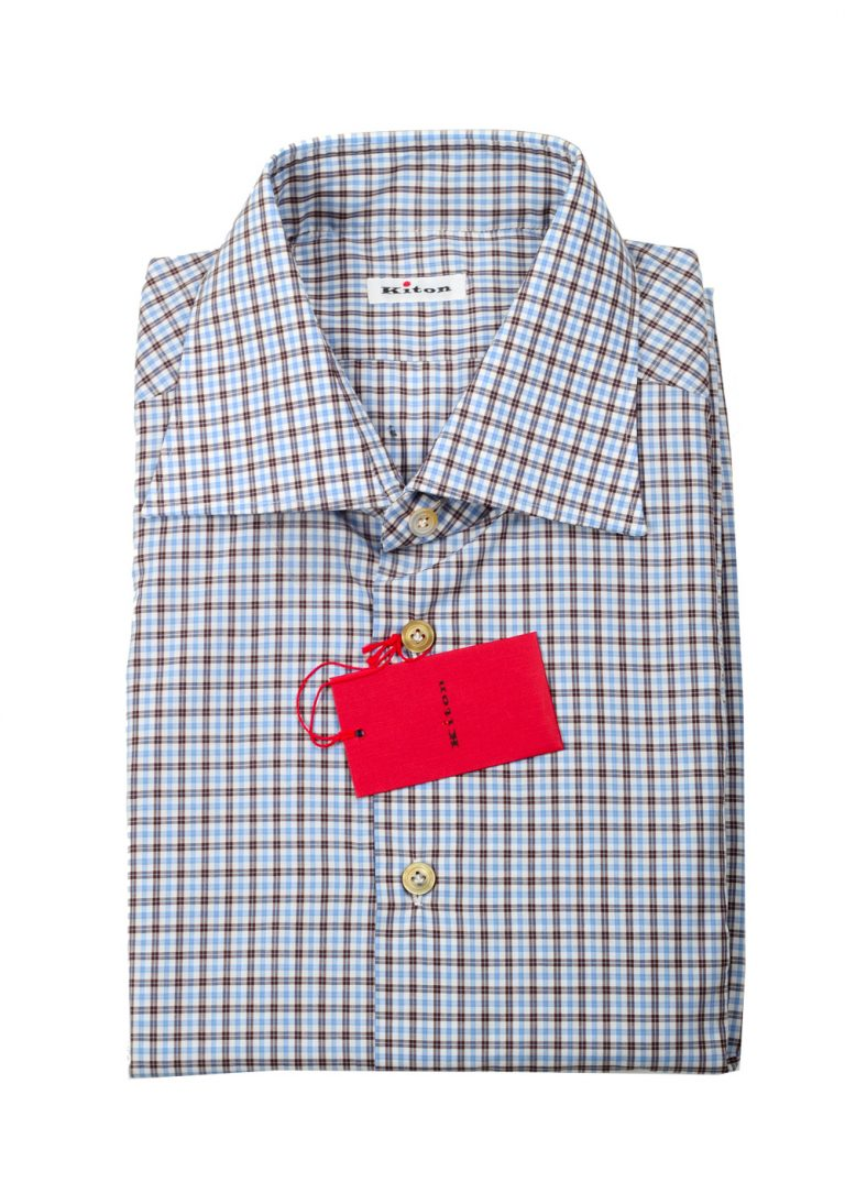 Kiton Checked White Blue Brown Shirt 45 / 18 U.S. - thumbnail | Costume Limité