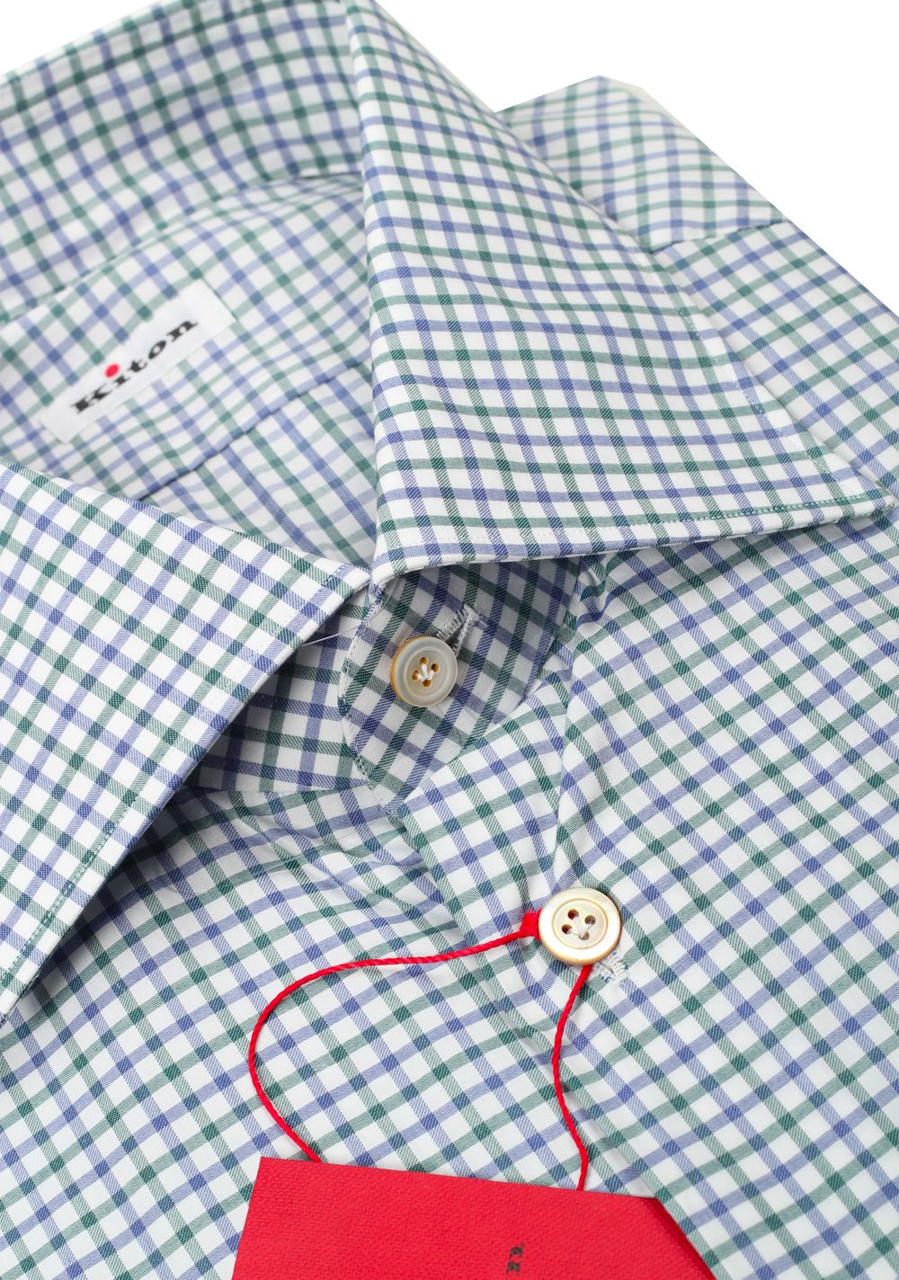 Kiton Checked White Blue Green Shirt 45 / 18 U.S. | Costume Limité