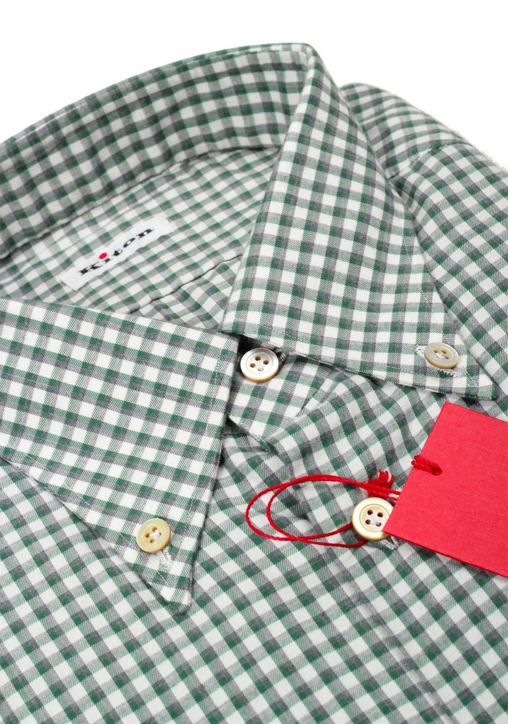 Kiton Checked White Green Gray Shirt Size 39 / 15,5 U.S. | Costume Limité