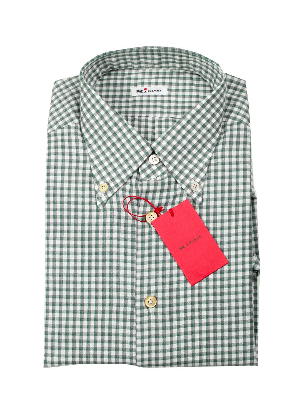 Kiton Checked White Green Gray Shirt Size 40 / 15,75 U.S. | Costume Limité