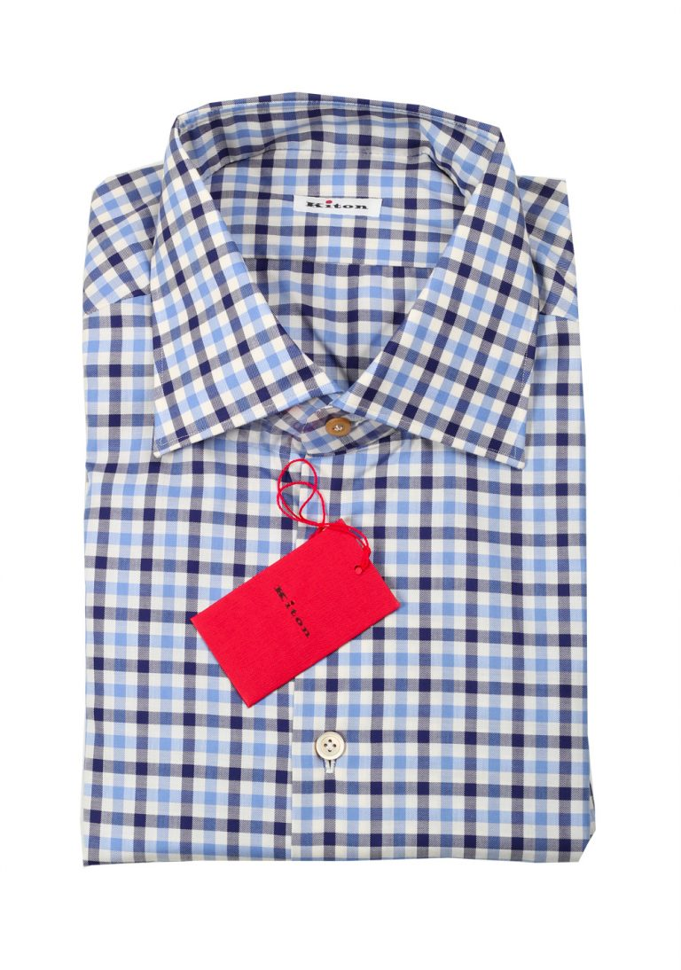 Kiton Checked White Blue Shirt Size 45 / 18 U.S. - thumbnail | Costume Limité