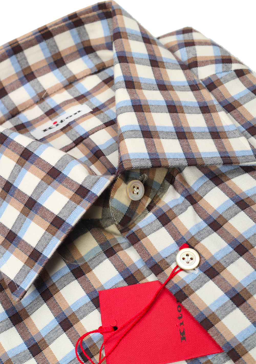 Kiton Checked Flannel Shirt 42 / 16,5 U.S. | Costume Limité