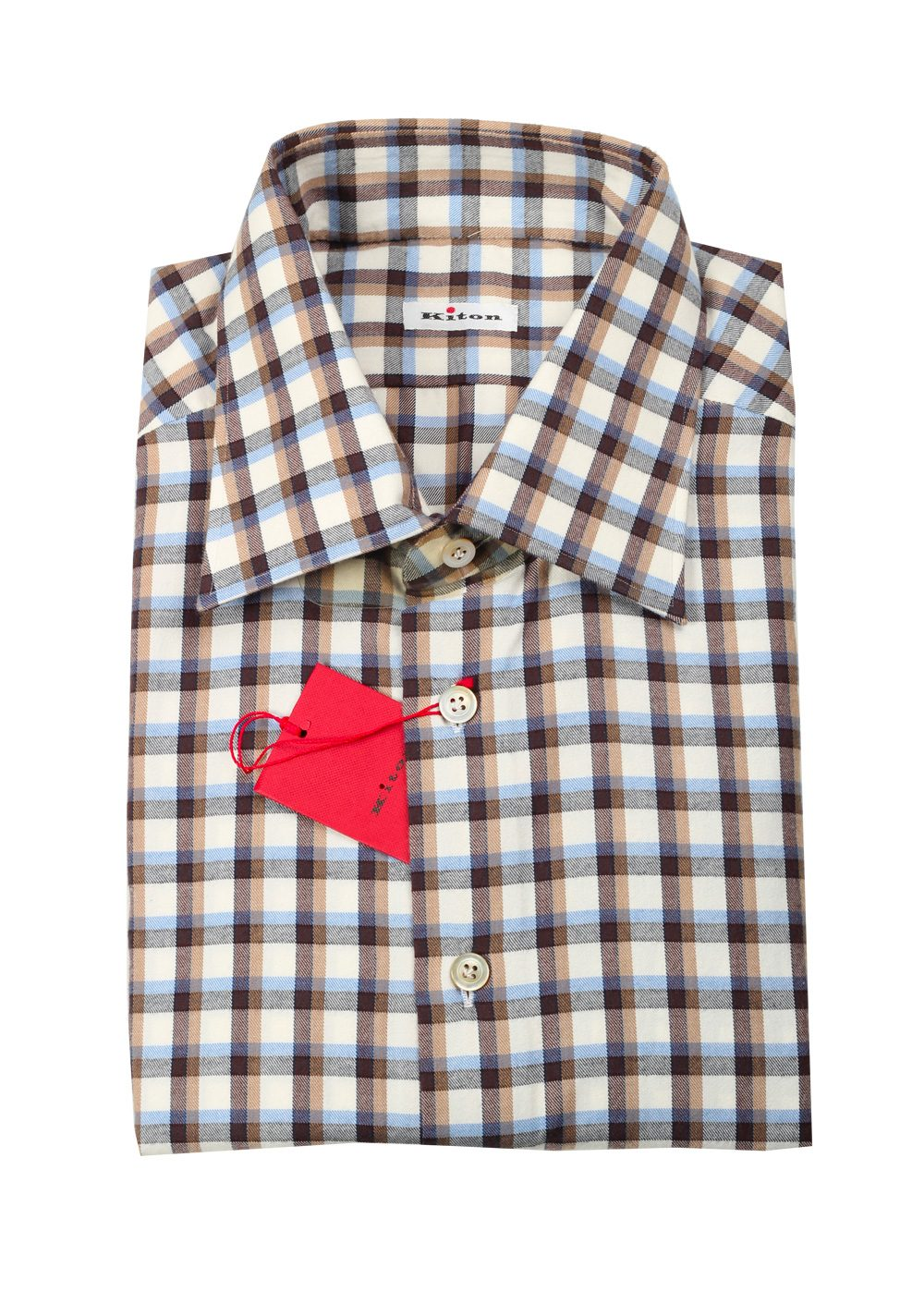 Kiton Checked Flannel Shirt 44 / 17,5 U.S. | Costume Limité