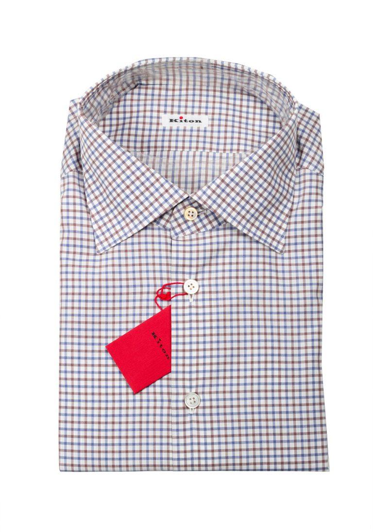 Kiton Checked White Blue Brown Shirt 45 / 18 U.S. - thumbnail   Costume Limité