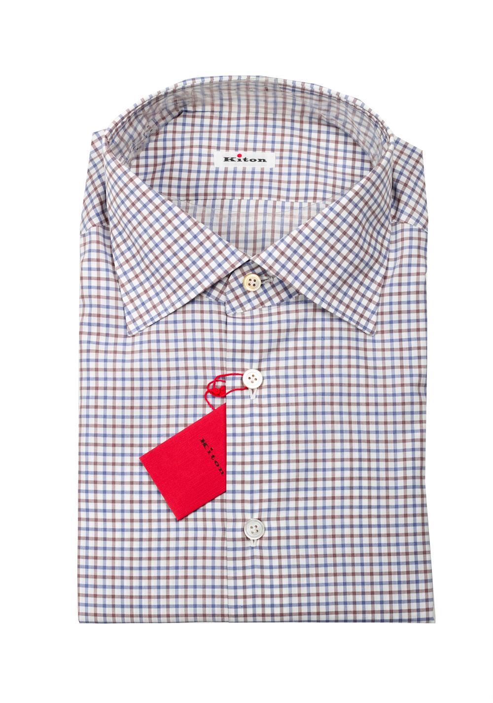 Kiton Checked White Blue Brown Shirt 45 / 18 U.S.   Costume Limité
