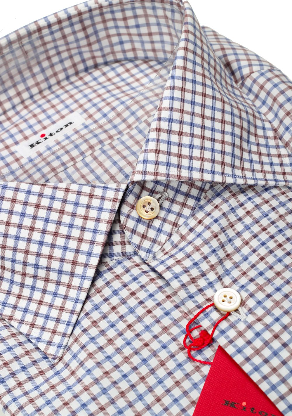 Kiton Checked White Blue Brown Shirt 45 / 18 U.S. | Costume Limité