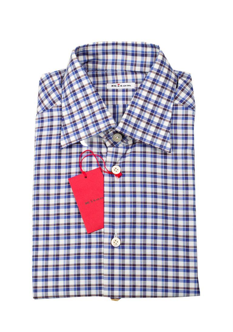 Kiton Checked White Blue Brown Shirt Size 41 / 16 U.S. - thumbnail   Costume Limité