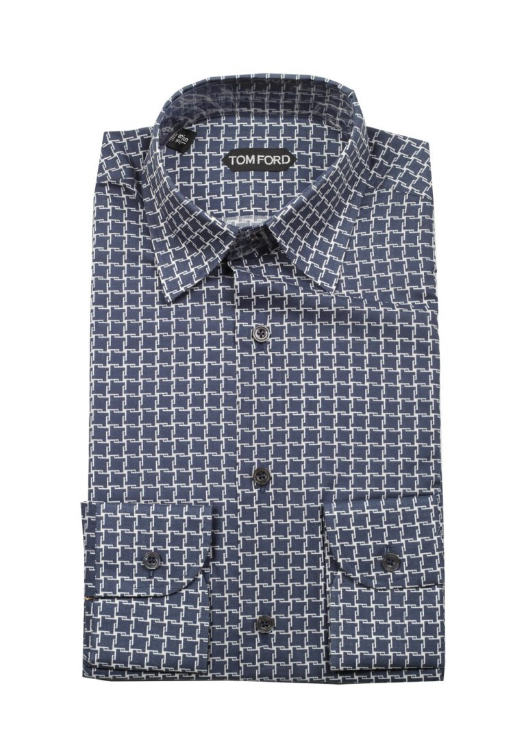 TOM FORD Patterned Blue Shirt Size 38 / 15 U.S. - thumbnail | Costume Limité
