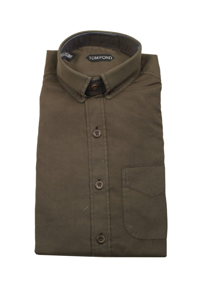 TOM FORD Solid Brown Casual Shirt Size 39 / 15,5 U.S. - thumbnail | Costume Limité