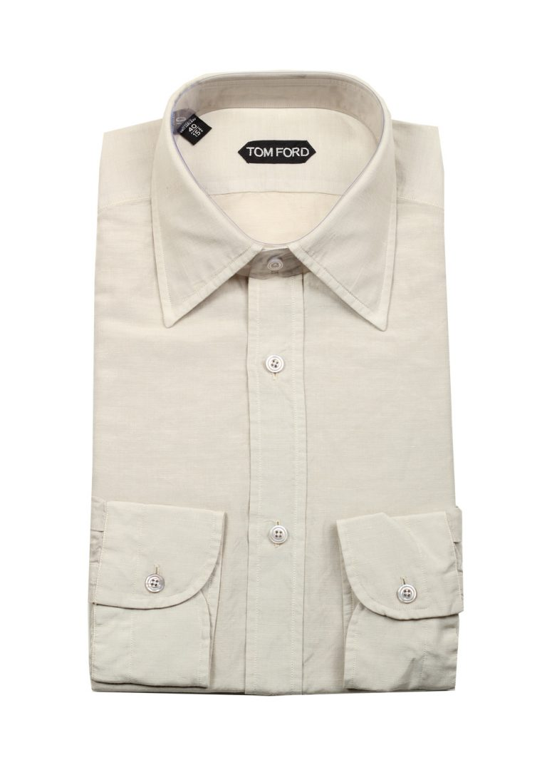 TOM FORD Solid Off White Dress Shirt Size 40 / 15,75 U.S. In Linen - thumbnail | Costume Limité