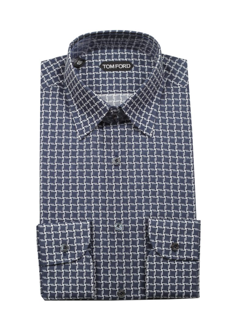 TOM FORD Patterned White Blue Dress Shirt Size 40 / 15,75 U.S. - thumbnail | Costume Limité