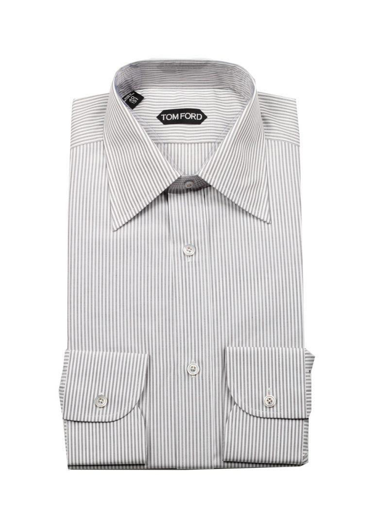 TOM FORD Striped White Gray Dress Shirt Size 40 / 15,75 U.S. - thumbnail | Costume Limité