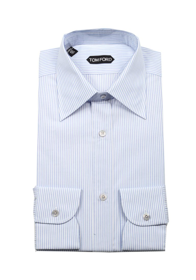 TOM FORD Striped White Blue Dress Shirt Size 40 / 15,75 U.S. - thumbnail | Costume Limité