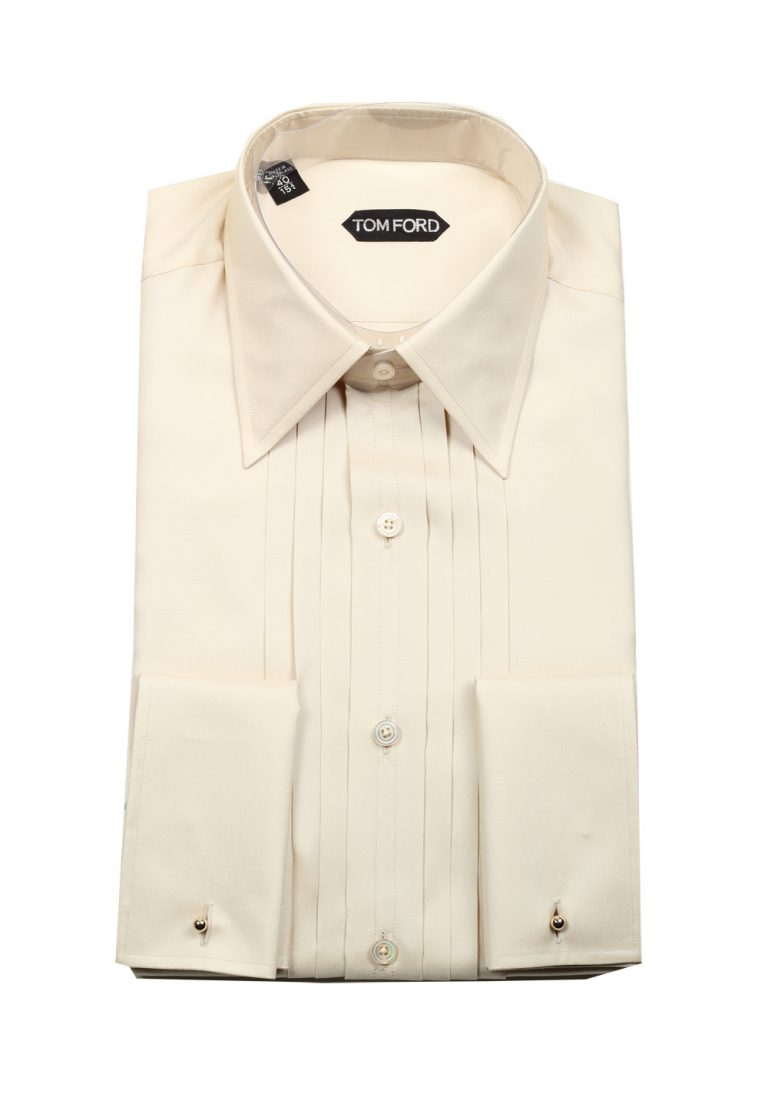 TOM FORD Solid Off White Charmeuse Evening Tuxedo Shirt Size 40 / 15,75 U.S. - thumbnail | Costume Limité