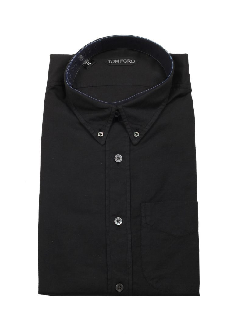 TOM FORD Solid Black Casual Shirt Size 41 / 16 U.S. - thumbnail | Costume Limité