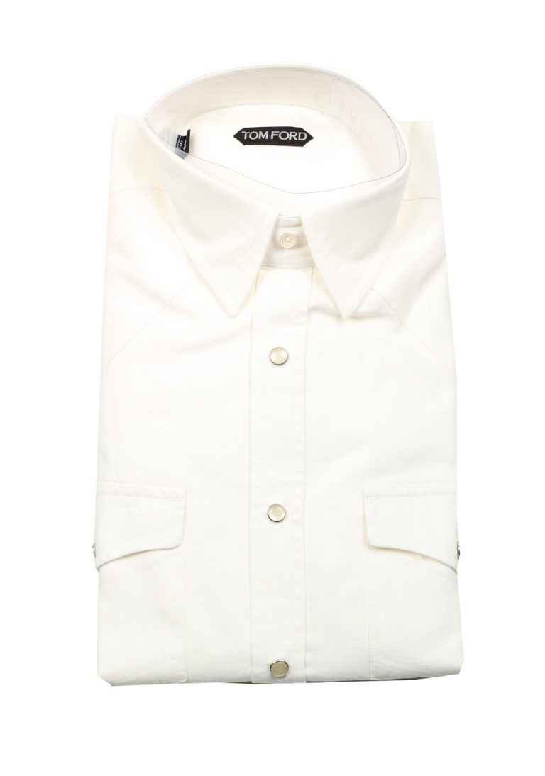 TOM FORD Solid White Casual Shirt Size 41 / 16 U.S. - thumbnail | Costume Limité