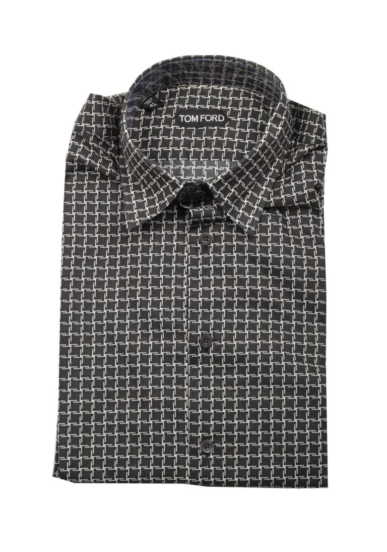 TOM FORD Patterned Black Dress Shirt Size 41 / 16 U.S. - thumbnail | Costume Limité