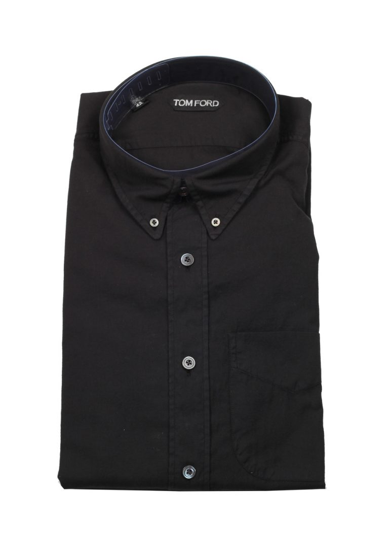 TOM FORD Solid Black Casual Button Down Shirt Size 42 / 16,5 U.S. - thumbnail | Costume Limité