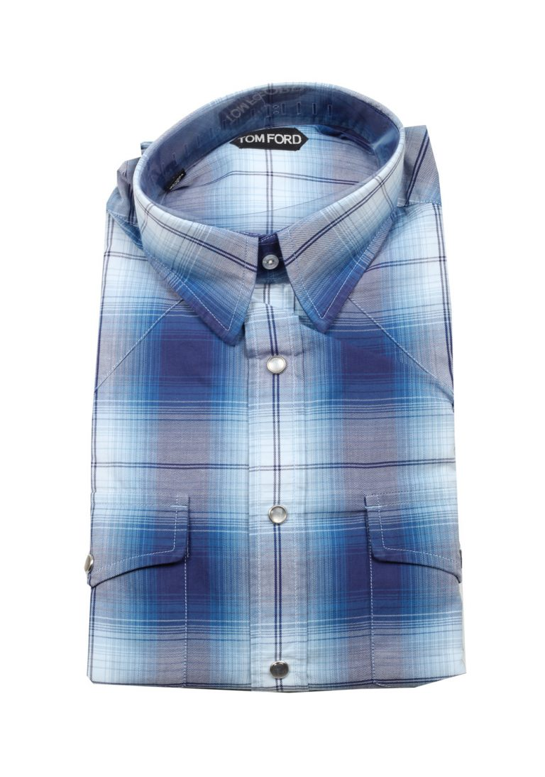 TOM FORD Checked Blue Casual Shirt Size 42 / 16,5 U.S. - thumbnail | Costume Limité