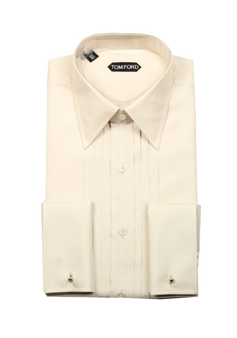 TOM FORD Solid Off White Charmeuse Evening Tuxedo Shirt Size 42 / 16,5 U.S. - thumbnail | Costume Limité