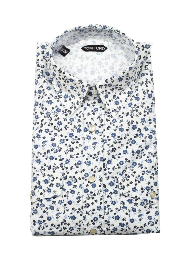 TOM FORD White Floral Casual Shirt Size 42 / 16,5 U.S. - thumbnail | Costume Limité