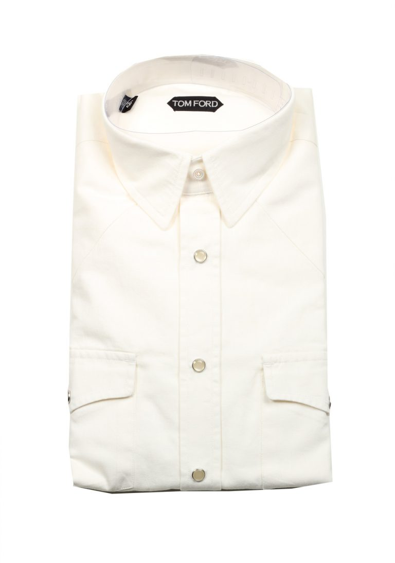 TOM FORD Solid White Casual Shirt Size 42 / 16,5 U.S. - thumbnail | Costume Limité