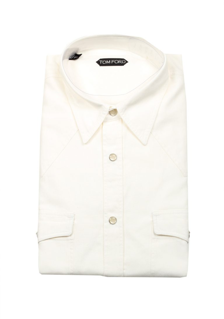 TOM FORD Solid White Casual Shirt Size 43 / 17 U.S. - thumbnail | Costume Limité