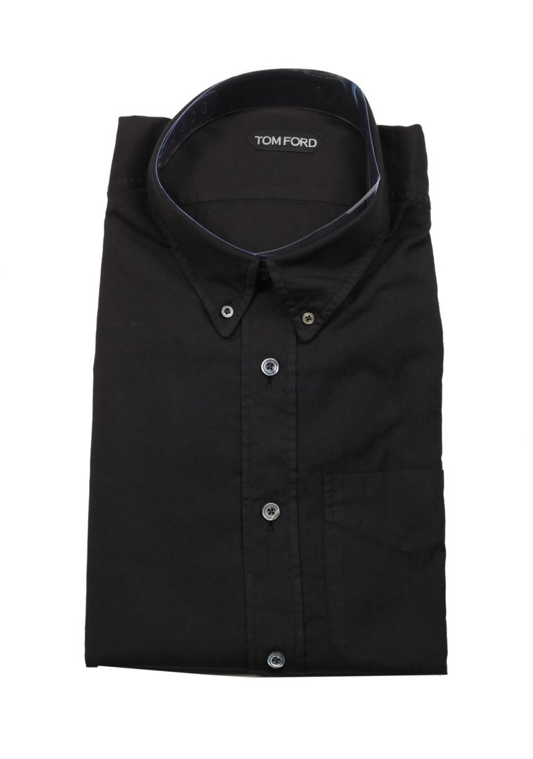 TOM FORD Solid Black Casual Button Down Shirt Size 43 / 17 U.S. - thumbnail | Costume Limité