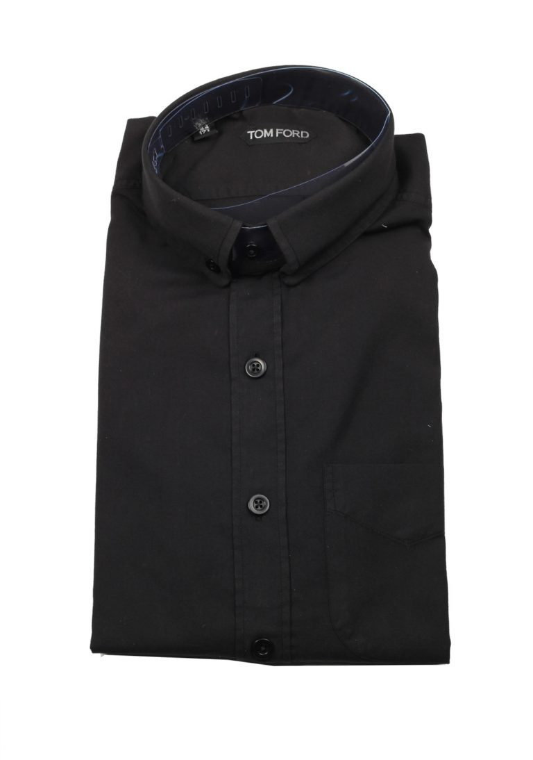 TOM FORD Solid Black Casual Button Down Shirt Size 44 / 17,5 U.S. - thumbnail | Costume Limité