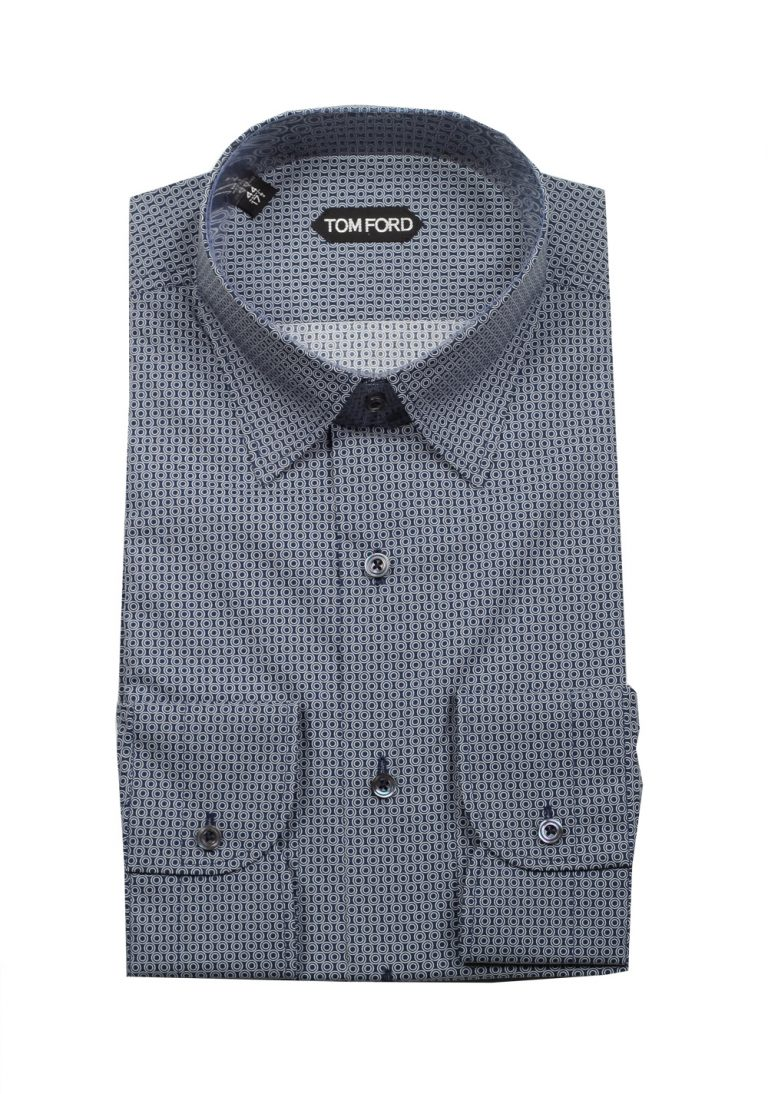 TOM FORD Patterned Blue Dress Shirt Size 44 / 17,5 U.S. - thumbnail | Costume Limité