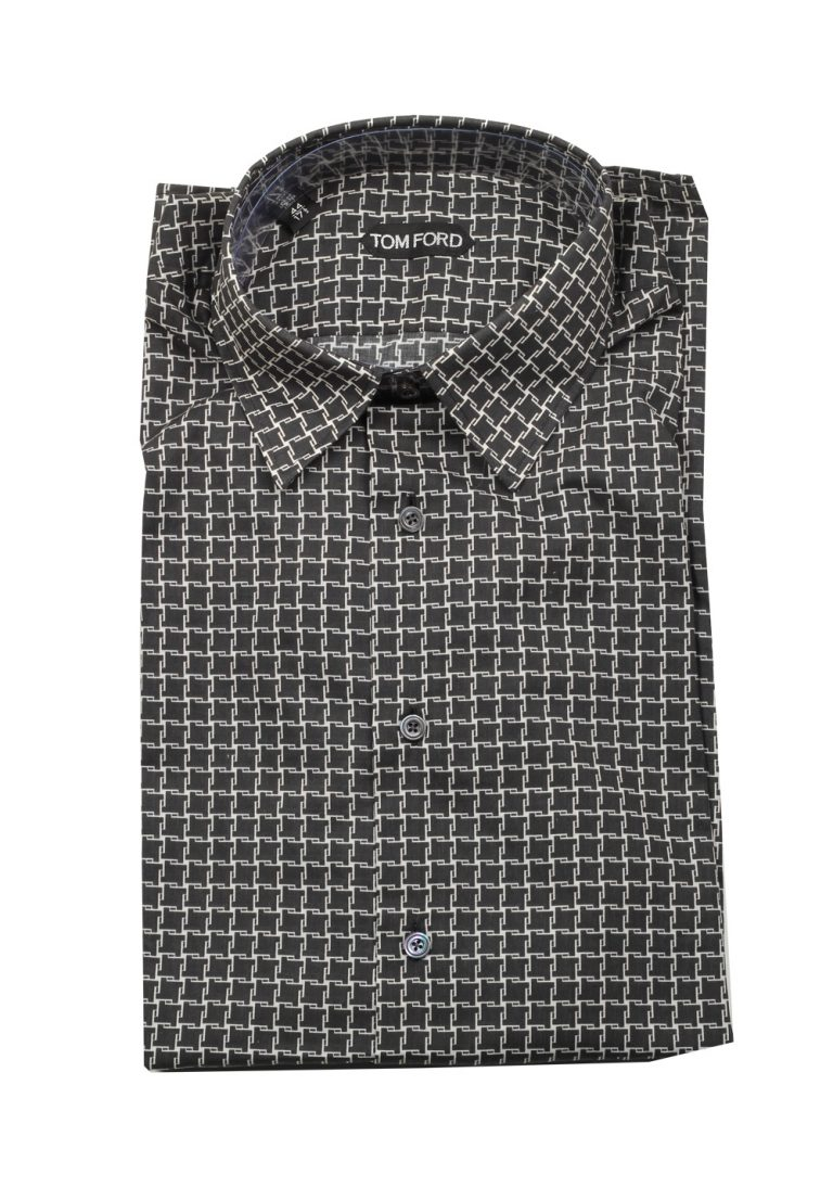 TOM FORD Patterned Black Dress Shirt Size 44 / 17,5 U.S. - thumbnail | Costume Limité