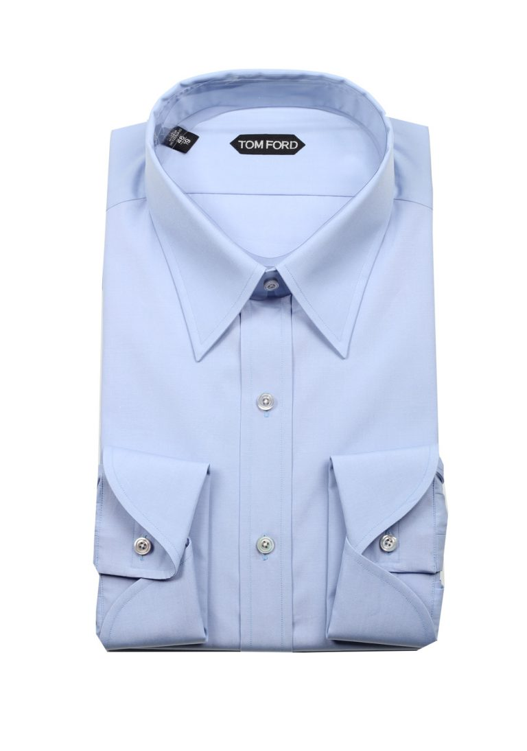 TOM FORD Solid Blue Dress Shirt Size 48 / 19 U.S. - thumbnail | Costume Limité