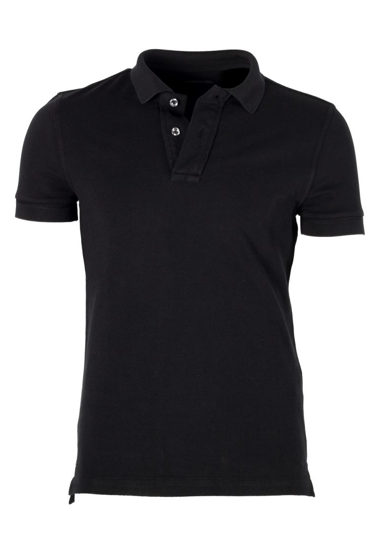 TOM FORD Black Piquet Short Sleeve Polo Shirt Size 44 / 34R U.S. - thumbnail | Costume Limité
