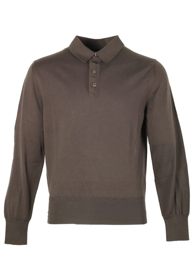TOM FORD Green Long Sleeve Polo Shirt Size 52 / 42R U.S. - thumbnail | Costume Limité