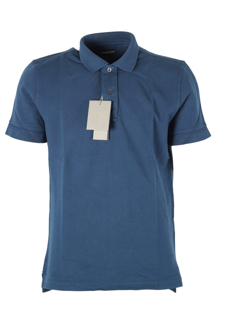 TOM FORD Blue Piquet Short Sleeve Polo Shirt Size 52 / 42R U.S. - thumbnail | Costume Limité