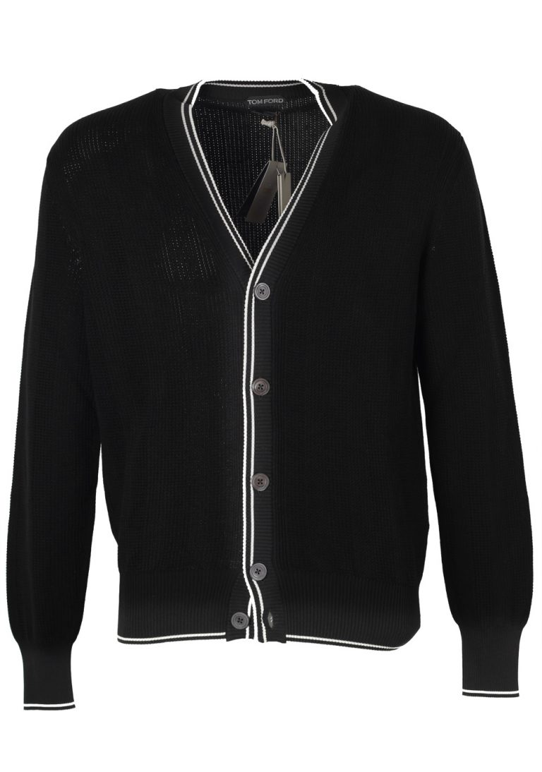 TOM FORD Black Cardigan Size 52 / 42R U.S. In Silk Cotton - thumbnail | Costume Limité