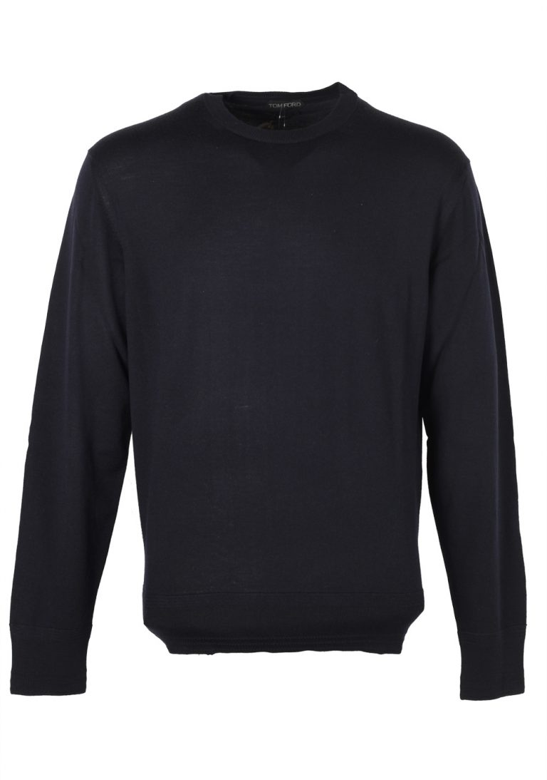 TOM FORD Blue Crew Neck Sweater Size 54 / 44R U.S. Merino Wool - thumbnail | Costume Limité