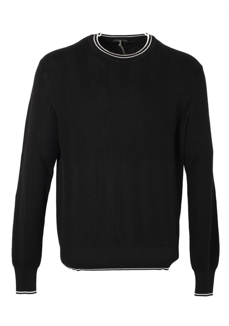 TOM FORD Black Crew Neck Sweater Size 54 / 44R U.S. Silk Cotton - thumbnail | Costume Limité